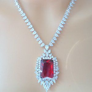 18K WHITE GOLD OVER STUNNING RUBY NECKLACE EARRING